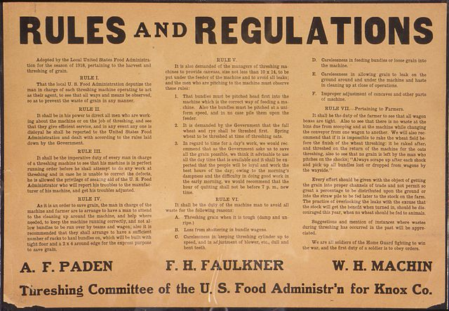 Rules and Regulations - an old document
