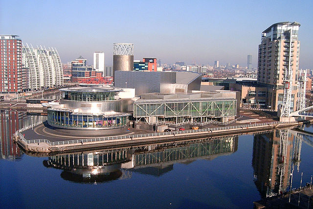 Salford Quays seen from the top of the Imperial War Museum