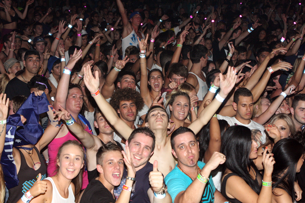 crowd in nightclub, seen from a DJ point of view