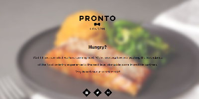 Pronto home page with logo and attractive food