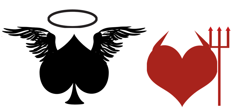 Playing cards representing good and evil